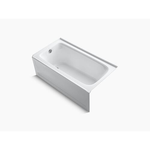 "Biscuit 60"" X 32"" Alcove Bath With Bask Heated Surface, Integral Apron, and Left-hand Drain"