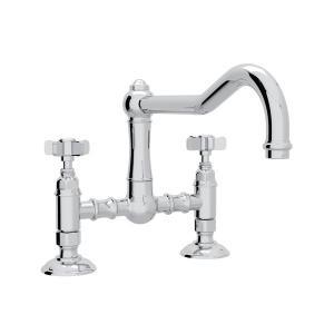 Polished Chrome Acqui Deck Mount Column Spout Bridge Kitchen Faucet with Five Spoke Cross Handle Product Image
