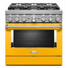 See Details - KitchenAid® 36'' Smart Commercial-Style Dual Fuel Range with 6 Burners - Yellow Pepper