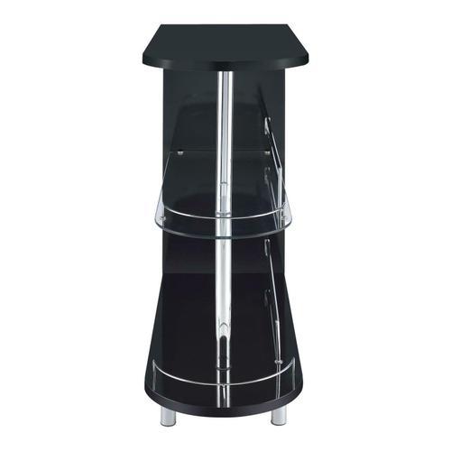 Coaster - Contemporary Glossy Black Bar Table