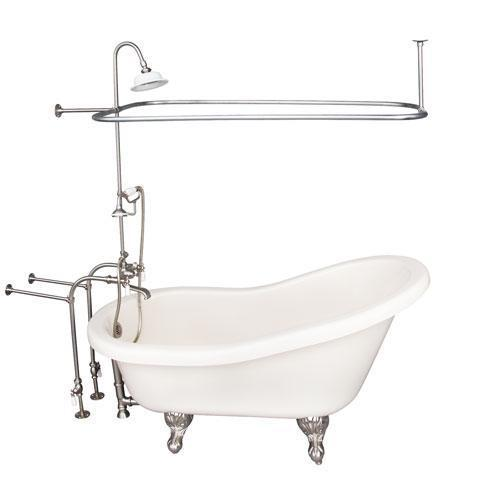 """Fillmore 60"""" Acrylic Slipper Tub Kit in Bisque - Brushed Nickel Accessories"""