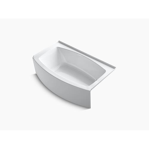 "White 60"" X 30-36"" Curved Alcove Bath With Integral Flange and Right-hand Drain"