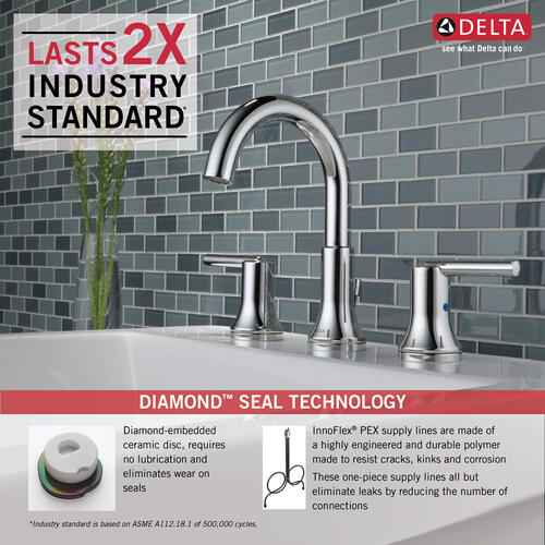 3559mpudst In Chrome By Delta Faucet Company In Raleigh Nc Chrome Two Handle Widespread Bathroom Faucet