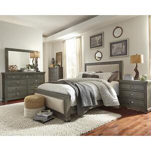 3/3 Upholstered Twin Headboard - Distressed Dark Gray Finish