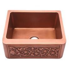 """Cilantro Single Bowl Copper Farmer Sink - 25"""""""