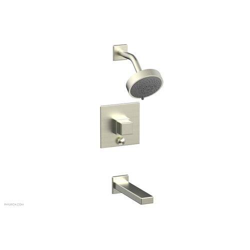 MIX Pressure Balance Tub and Shower Set - Cube Handle 290-29 - Satin Nickel