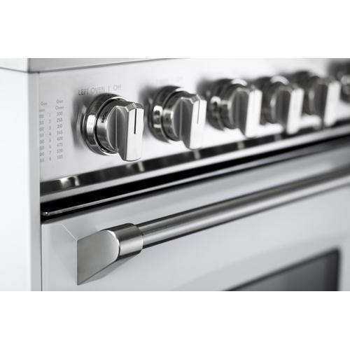 "White 36"" Gas Double Oven Range - Prestige Series"