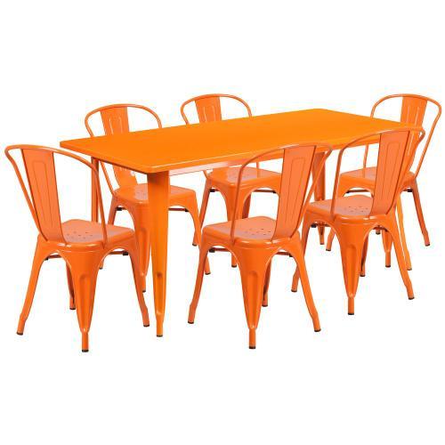 31.5'' x 63'' Rectangular Orange Metal Indoor-Outdoor Table Set with 6 Stack Chairs