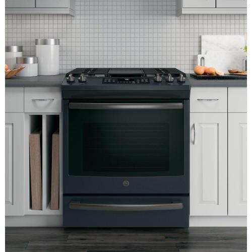 "GE Appliances - GE® 30"" Slide-In Front-Control Convection Gas Range"