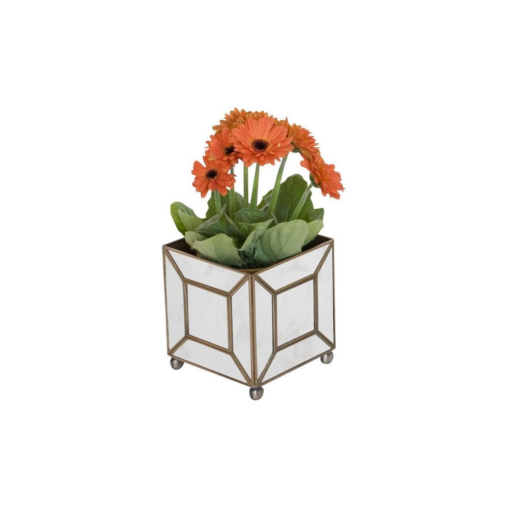 Bring A Touch of French Provencial Living To Your Indoor or Outdoor Garden Room. This Luxe Square Planter Is Perched Atop Ball Feet and Finished With Antique Mirrors Framed By A Classic Geometric Pattern.
