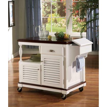 See Details - Traditional White Kitchen Cart