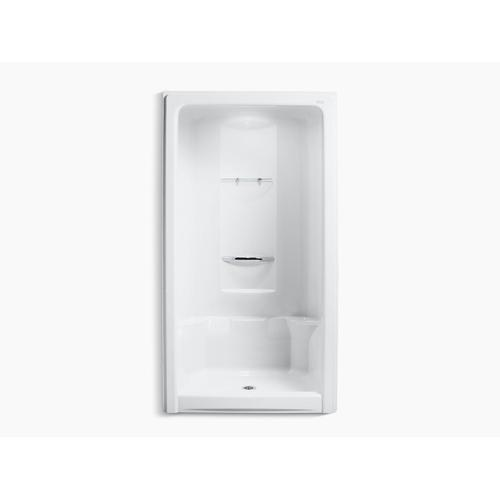 "White 48"" X 36"" X 90"" Center Drain Shower Stall With Integral High-dome Ceiling, Requires Grab Bar"