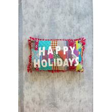 See Details - happy holiday kantha pillow