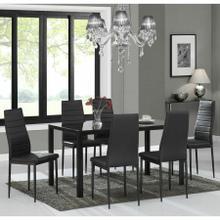 See Details - Contra 7pc Dining Set, Black/Black
