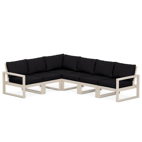 Polywood Furnishings - EDGE 6-Piece Modular Deep Seating Set in Sand / Midnight Linen