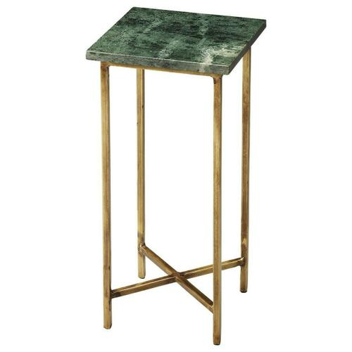 """This divine table features an 'X"""" frame stretcher base with a marble stone inset in the square top. Combination of design elegance and effective functionality makes this end table an extraordinary product that can seamlessly blend in and complement various different types of home interior design plans. Place it against the end of your sofa or beside the armchair to bring out the best in its beauty. The sleek and stylish design of this table is a sure shot winner in any type of surrounding. The surface area of the table is small; however, it is perfect for keeping small lampshade or flower vases."""