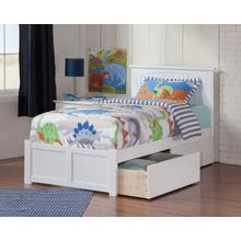 Nantucket Twin XL Flat Panel Foot Board with 2 Urban Bed Drawers White