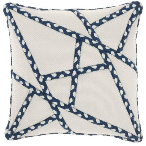 "Outdoor Pillows Vj006 Navy 18"" X 18"" Throw Pillow"