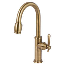 View Product - Antique Brass Pull-down Kitchen Faucet