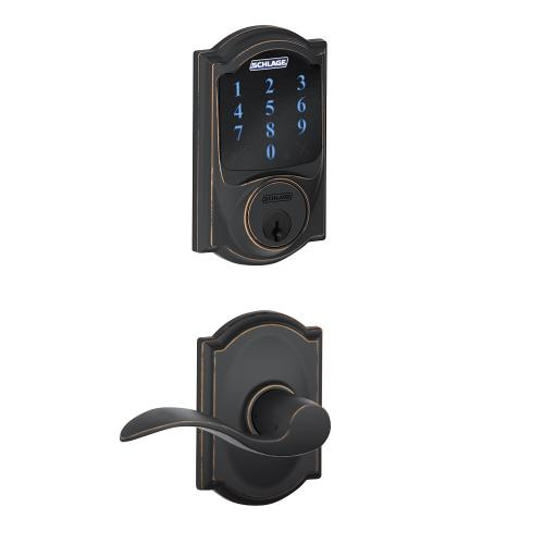Schlage Connect Smart Deadbolt with alarm with Camelot trim, Z-wave enabled paired with Accent Lever with Camelot trim - Aged Bronze