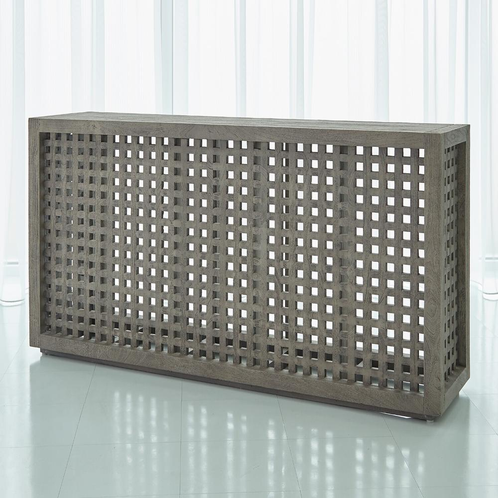 See Details - Driftwood Lattice Console-Grey