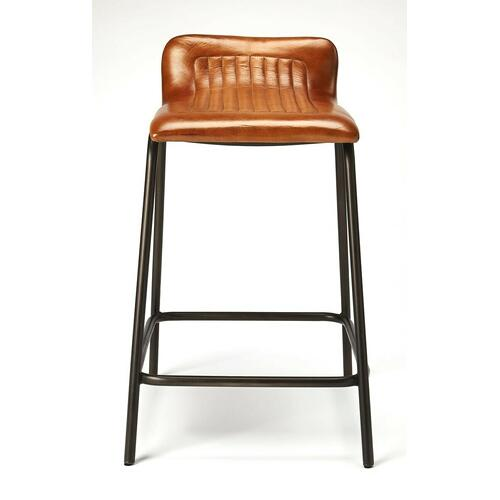Accessorize your pub table, home bar or kitchen island with this striking Leather and iron counter height stool. The solid iron frame provides a sturdy base, while the plush leather seat ensures maximum comfort. With a black finish and vintage car look leather seat , this rustic counter height stool will be an eye-catching addition to your dining or bar area. The footrest is incorporated into the design, adding an angular component to the frame contributing to a more contemporary design.