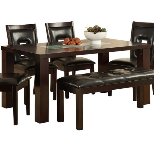 Mazin Furniture - Dining Table, Crackle Glass Insert
