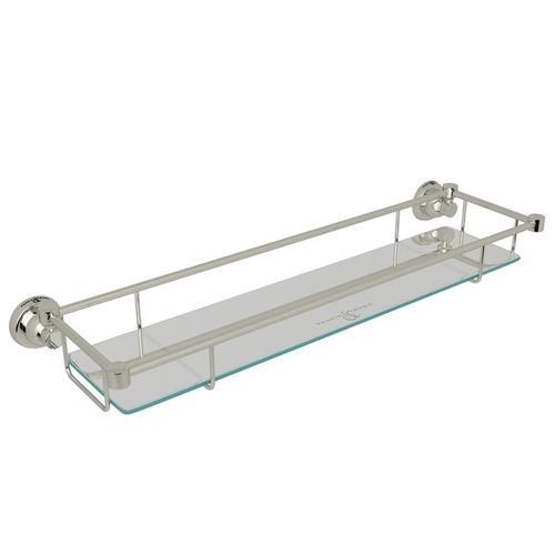 Polished Nickel Perrin & Rowe Holborn Wall Mount Glass Vanity Shelf