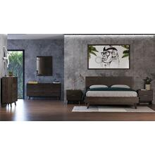 Modrest Daisy - Mid-Century Dark Acacia Bedroom Set
