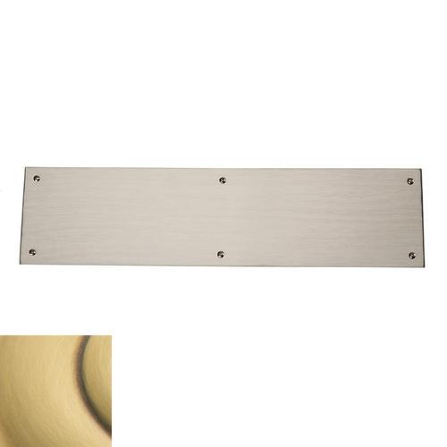 Baldwin - Satin Brass and Brown Square Edge Push Plate
