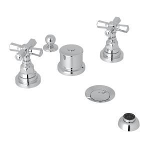 Polished Chrome San Giovanni Five Hole Bidet Faucet with Cross Handle Product Image