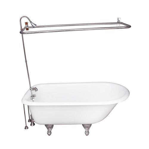 "Bartlett 60"" Cast Iron Roll Top Tub Kit - Polished Chrome Accessories"