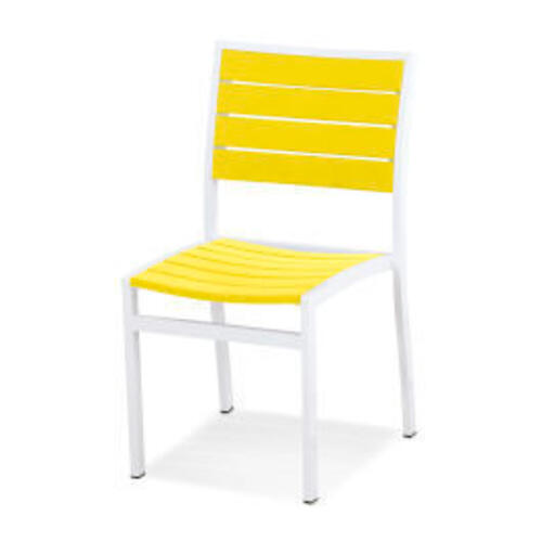 Polywood Furnishings - Eurou2122 Dining Side Chair in Satin White / Lemon