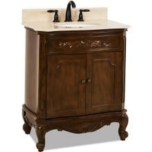 "30-1/2"" Nutmeg vanity with Antique Brass hardware, carved floral onlays, French scrolled legs, and preassembled Cream Marble top and oval bowl"