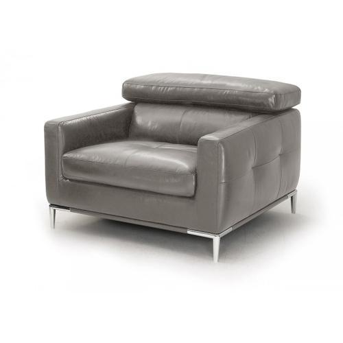 VIG Furniture - Divani Casa Natalia - Modern Dark Grey Leather Chair