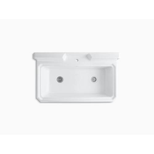 """White 48"""" X 28"""" X 41-11/16"""" Top-mount or Wall-mount Utility Sink With Single Faucet Hole On Center Deck"""