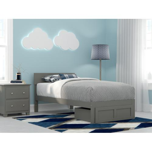 Boston Twin Bed with Foot Drawer in Grey