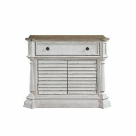ACME York Shire Chest (2 Shutter Doors) - 28277 - Country-Cottage, Provincial - Wood (Poplar), Wood Veneer (Hickory), MDF, PB, Ply - Antique White and Dark Charcoal