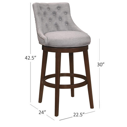 Hillsdale Furniture - Halbrooke Swivel Bar Height Stool, Smoke Gray