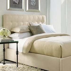 """Bernhardt Interiors - King-Sized Avery Button-Tufted Bed (54-1/2"""" H) in Espresso"""