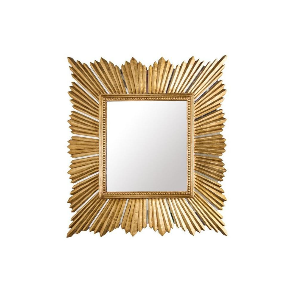 Glam Up Your Entryway With Our Rectangular, Sunburst Mirror. Alive With Sculptural Form, Its Dimensional Rays Collide With A Square Center Molding and Intricate, Bead Border Detail. as the Crowning Touch, Each Ray of Light Is Adorned In Lavish Gold Leaf. You'll Always Look Your Best In the Raymond Mirror.
