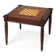 View Product - Play a variety of games on this stylish table that is veneered with a Plantation Cherry finish. The top inset has a game board for chess and checkers. Flip the inset over and it converts to a green felt-lined blackjack table. Remove the insert altogether and the well (beneath the inset) is a back-gammon game board. Four glass holders on each corner. Chess and other game pieces are not included.