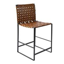 Irving Woven Leather Counter Stool