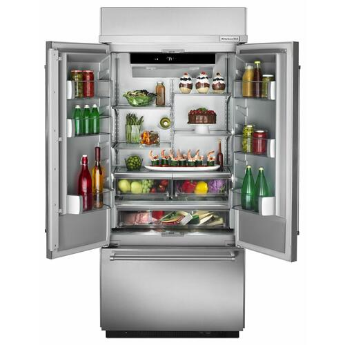 "KitchenAid Canada - 20.8 Cu. Ft. 36"" Width Built In Stainless Steel French Door Refrigerator with Platinum Interior Design"