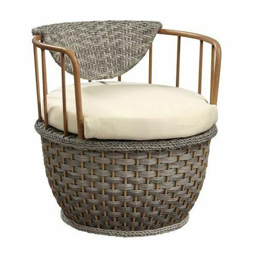 ACME Eskil Patio Chair (Set-2) - 45052 - Fabric & 2-Tone Gray Wicker