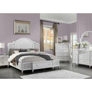 ACME Celestia Eastern King Bed (Storage) - 22107EK - Coastal - Wood (Solid Poplar), Wood Veneer (Oak), Poly-Resin, MDF, Ply, PB - Off White