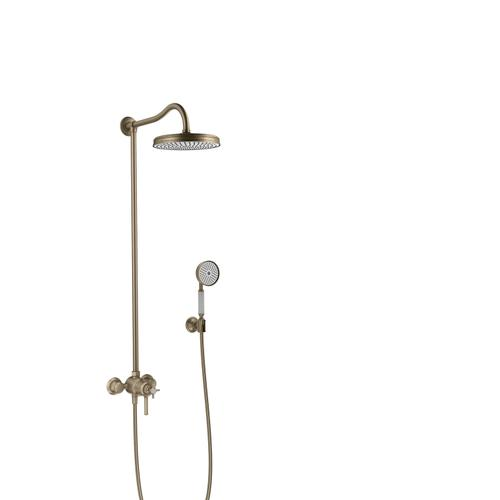 Brushed Nickel Showerpipe with thermostat and overhead shower 1jet