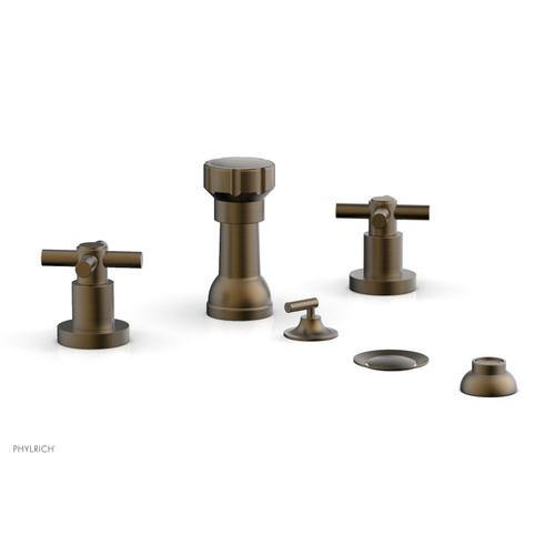 BASIC Four Hole Bidet Set - Tubular Cross Handles D4134 - Old English Brass