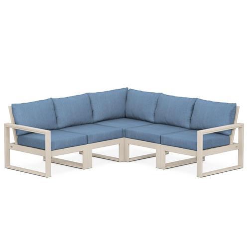 Polywood Furnishings - EDGE 5-Piece Modular Deep Seating Set in Sand / Sky Blue