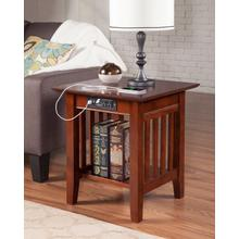 See Details - Mission End Table with Charger Walnut